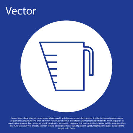Blue line Measuring cup to measure dry and liquid food icon isolated on blue background. Plastic graduated beaker with handle. White circle button. Vector Illustration.
