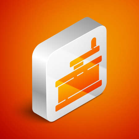Isometric Manual grinder icon isolated on orange background. Silver square button. Vector Illustration.