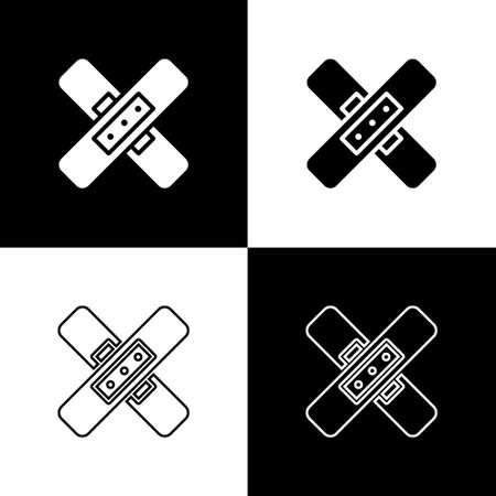 Set Crossed bandage plaster icon isolated on black and white background. Medical plaster, adhesive bandage, flexible fabric bandage. Vector Illustration. Ilustração