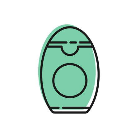 Black line Bottle of shampoo icon isolated on white background. Vector Illustration.