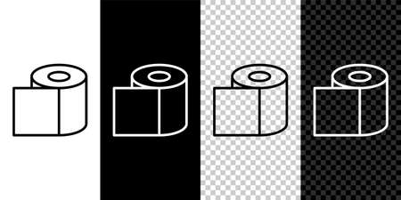Set line Toilet paper roll icon isolated on black and white background. Vector Illustration.