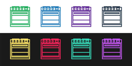 Set line Oven icon isolated on black and white background. Stove gas oven sign. Vector Illustration.