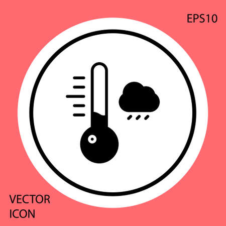 Black Meteorology thermometer measuring icon isolated on red background. Thermometer equipment showing hot or cold weather. White circle button. Vector Illustration.