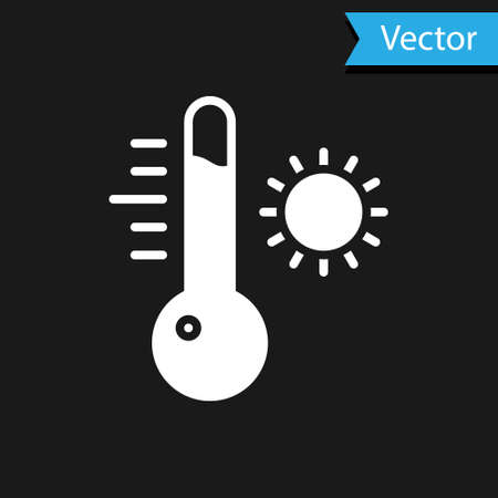 White Meteorology thermometer measuring icon isolated on black background. Thermometer equipment showing hot or cold weather.  Vector Illustration.