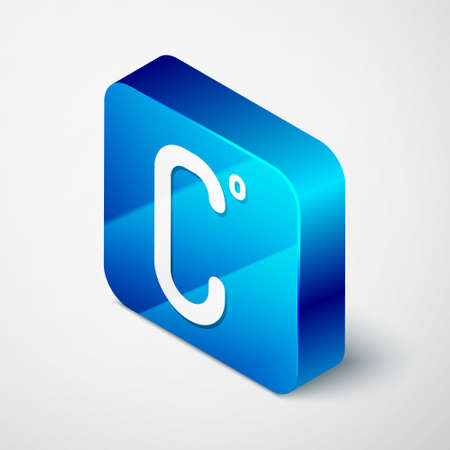 Isometric Celsius icon isolated on grey background. Blue square button. Vector Illustration.