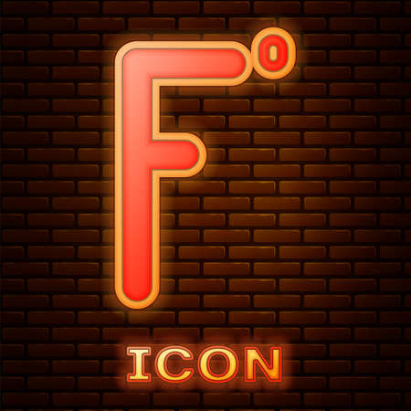 Glowing neon Fahrenheit icon isolated on brick wall background.  Vector Illustration.