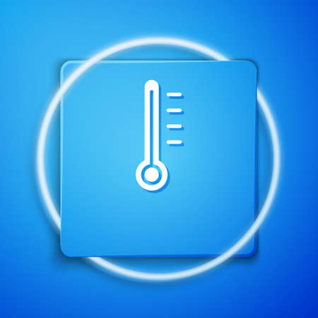 White Meteorology thermometer measuring icon isolated on blue background. Thermometer equipment showing hot or cold weather. Blue square button. Vector Illustration.