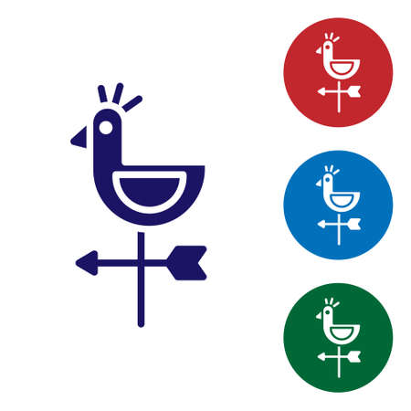 Blue Rooster weather vane icon isolated on white background. Weathercock sign. Windvane rooster. Set icons in color square buttons. Vector Illustration.