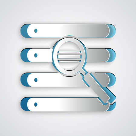Paper cut Search in a browser window icon isolated on grey background. Paper art style. Vector Illustration.