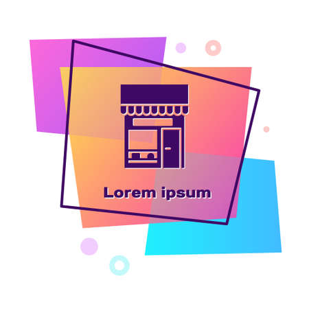 Purple Shopping building or market store icon isolated on white background. Shop construction. Color rectangle button. Vector Illustration. 일러스트