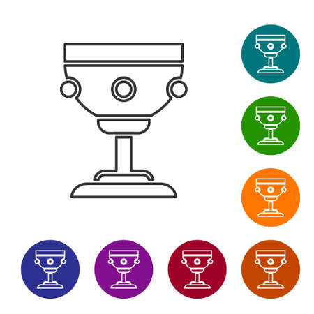 Black line Christian chalice icon isolated on white background. Christianity icon. Happy Easter. Set icons in color circle buttons. Vector Illustration.