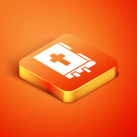 Isometric Holy bible book icon isolated on orange background. Vector Illustration. Ilustração