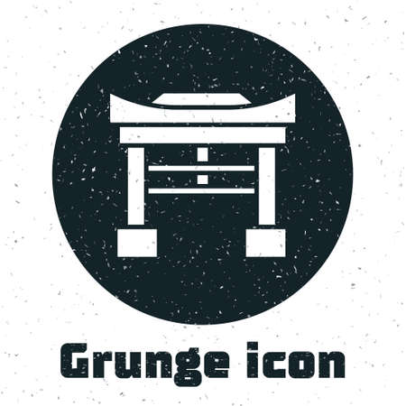 Grunge Japan Gate icon isolated on white background. Torii gate sign. Japanese traditional classic gate symbol. Monochrome vintage drawing. Vector Illustration.