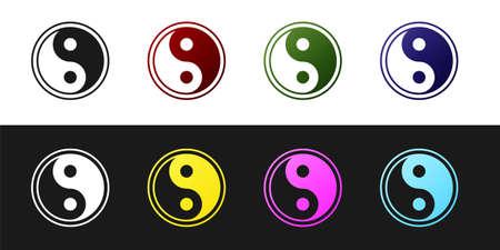 Set Yin Yang symbol of harmony and balance icon isolated on black and white background. Vector Illustration.