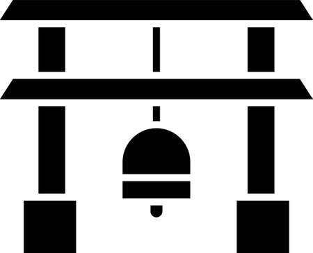 Black Japan Gate icon isolated on white background. Torii gate sign. Japanese traditional classic gate symbol. Vector Illustration. Stock Illustratie