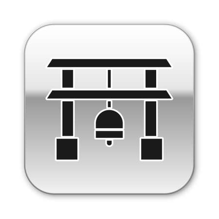 Black Japan Gate icon isolated on white background. Torii gate sign. Japanese traditional classic gate symbol. Silver square button. Vector Illustration.