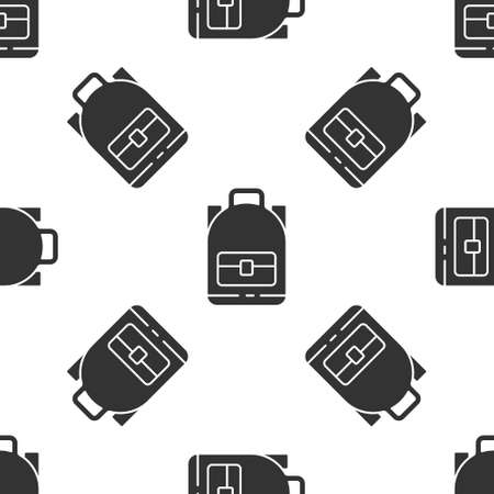 Grey Hiking backpack icon isolated seamless pattern on white background. Camping and mountain exploring backpack. Vector Illustration. Banque d'images - 150879613