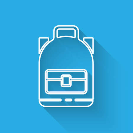 White line Hiking backpack icon isolated with long shadow. Camping and mountain exploring backpack. Vector Illustration. Banque d'images - 150879614