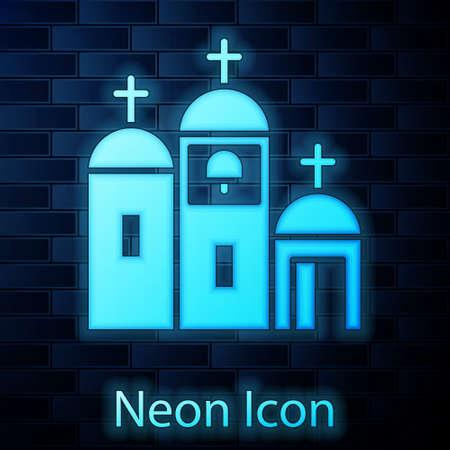Glowing neon Church building icon isolated on brick wall background. Christian Church. Religion of church. Vector Illustration. Illusztráció