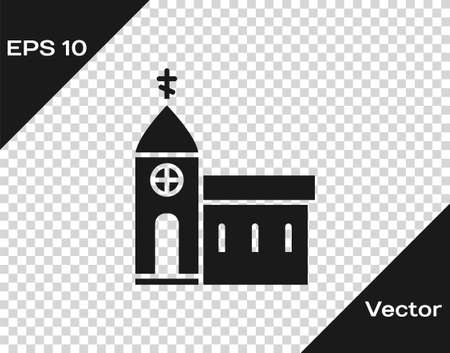 Black Church building icon isolated on transparent background. Christian Church. Religion of church. Vector Illustration.