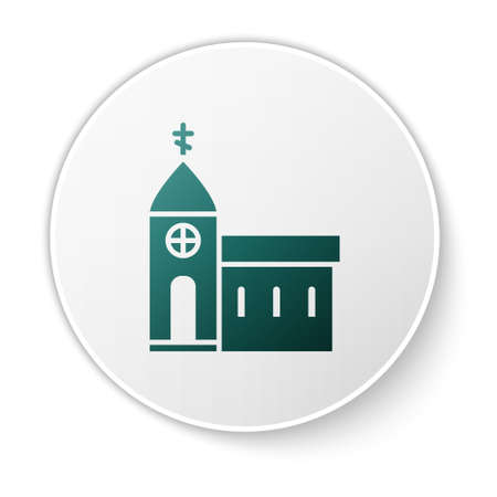 Green Church building icon isolated on white background. Christian Church. Religion of church. White circle button. Vector Illustration.