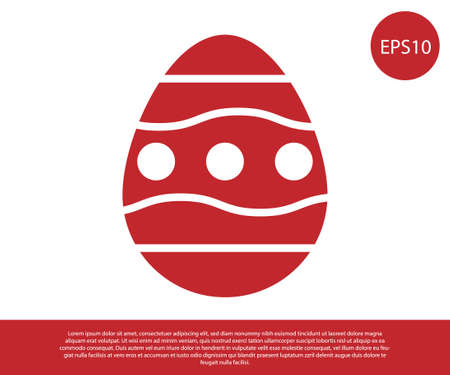 Red Easter egg icon isolated on white background. Happy Easter. Vector Illustration.