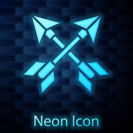 Glowing neon Crossed arrows icon isolated on brick wall background. Vector Illustration.