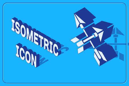 Isometric Crossed arrows icon isolated on blue background. Vector Illustration.