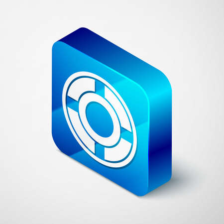 Isometric Ashtray icon isolated on grey background. Blue square button. Vector Illustration.