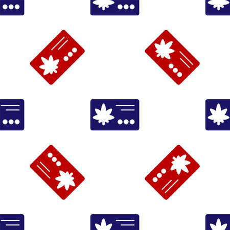 Blue and red Calendar and marijuana or cannabis leaf icon isolated seamless pattern on white background. National weed day. Hemp symbol. Vector Illustration.