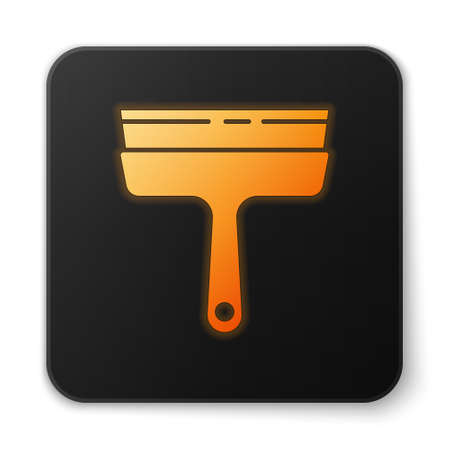 Orange glowing neon Cleaning service with of rubber cleaner for windows icon isolated on white background. Squeegee, scraper, wiper. Black square button. Vector Illustration. Vectores