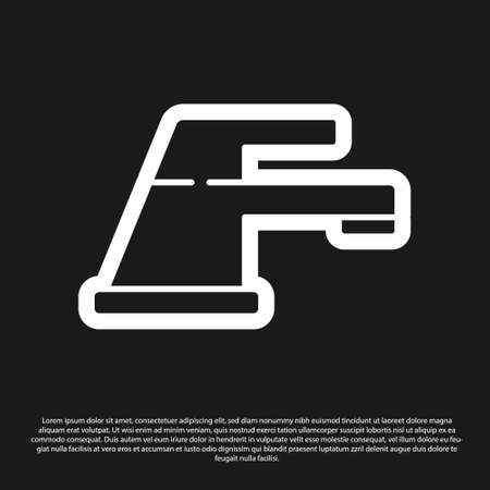 Black Water tap icon isolated on black background. Vector Illustration. 向量圖像