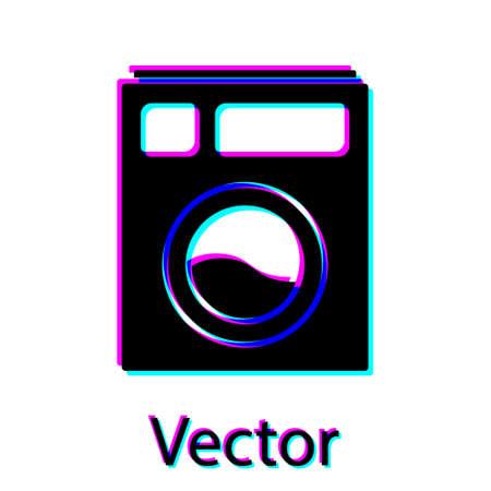 Black Washer icon isolated on white background. Washing machine icon. Clothes washer - laundry machine. Home appliance symbol. Vector Illustration. 일러스트