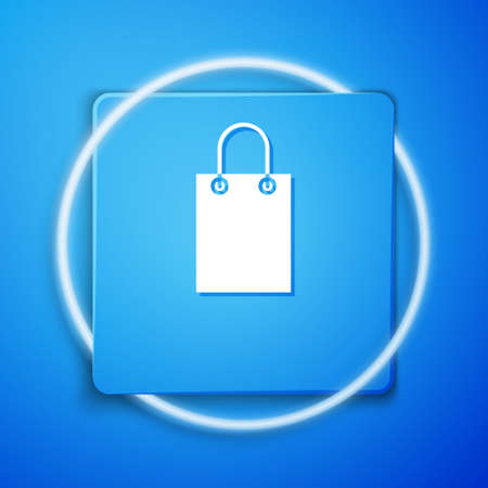 White Paper shopping bag icon isolated on blue background. Package sign. Blue square button. Vector Illustration.