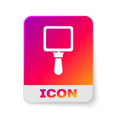 White Hand mirror icon isolated on white background. Rectangle color button. Vector Illustration.