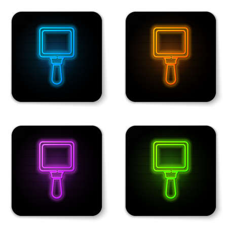 Glowing neon Hand mirror icon isolated on white background. Black square button. Vector Illustration. 向量圖像