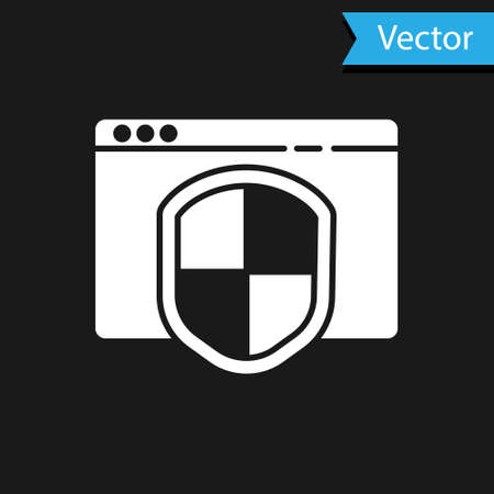 White Browser with shield icon isolated on black background. Security, safety, protection, privacy concept.  Vector Illustration.
