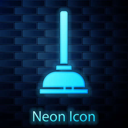 Glowing neon Rubber plunger with wooden handle for pipe cleaning icon isolated on brick wall background. Toilet plunger. Vector Illustration.