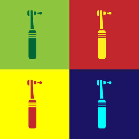 Pop art Tooth drill icon isolated on color background. Dental handpiece for drilling and grinding tools. Medical instrument. Vector Illustration. 矢量图像