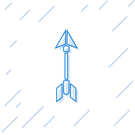 Blue line Hipster arrow icon isolated on white background. Vector Illustration.