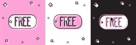 Set Price tag with an inscription Free icon isolated on pink and white, black background. Badge for price. Promo tag discount.  Vector Illustration.