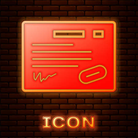 Glowing neon Warranty certificate template icon isolated on brick wall background.  Vector Illustration.
