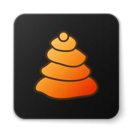 Orange glowing neon Stack hot stones icon isolated on white background. Spa salon accessory. Black square button. Vector Illustration.