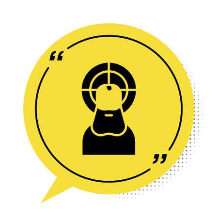 Black Jesus Christ icon isolated on white background. Yellow speech bubble symbol. Vector Illustration.