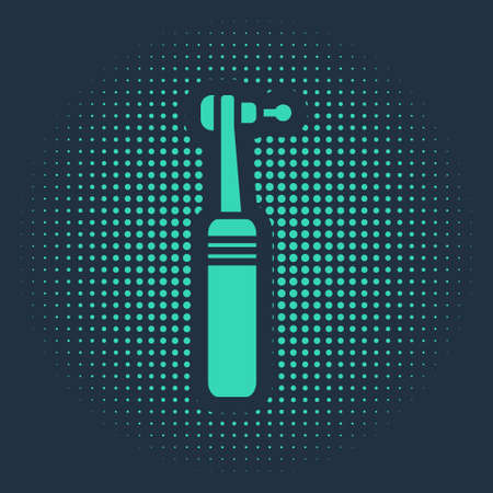 Green Tooth drill icon isolated on blue background. Dental handpiece for drilling and grinding tools. Medical instrument. Abstract circle random dots. Vector Illustration.