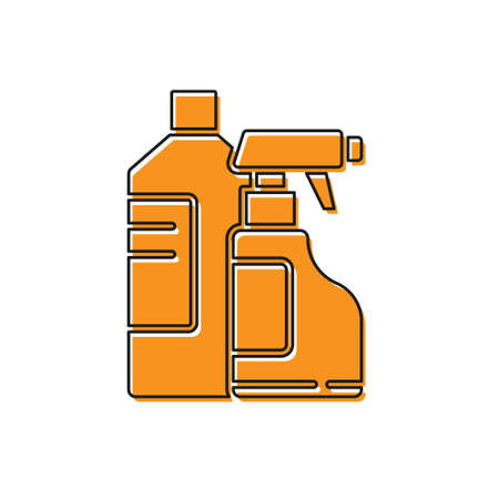 Orange Plastic bottles for laundry detergent, bleach, dishwashing liquid or another cleaning agent icon isolated on white background. Vector Illustration.