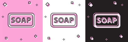 Set Bar of soap icon isolated on pink and white, black background. Soap bar with bubbles. Vector Illustration.