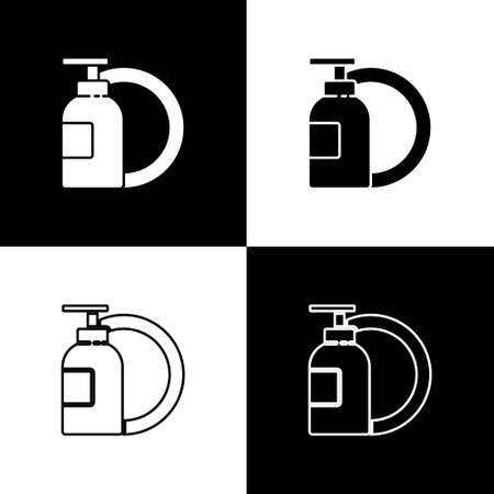 Set Dishwashing liquid bottle and plate icon isolated on black and white background. Liquid detergent for washing dishes. Vector Illustration.
