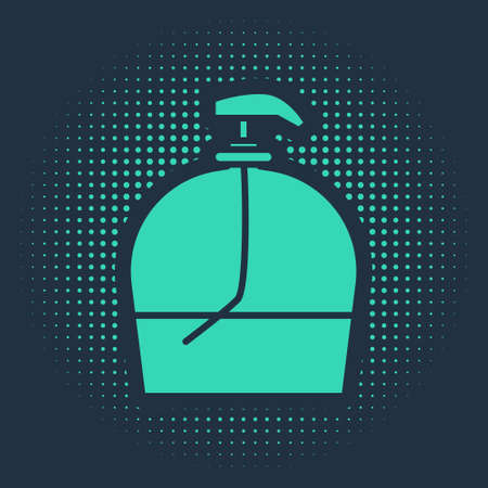 Green Bottle of liquid antibacterial soap with dispenser icon isolated on blue background. Disinfection, hygiene, skin care. Abstract circle random dots. Vector Illustration.