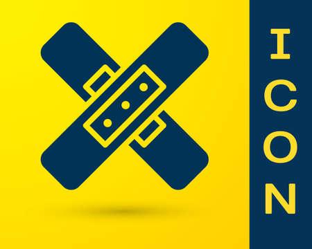 Blue Crossed bandage plaster icon isolated on yellow background. Medical plaster, adhesive bandage, flexible fabric bandage. Vector Illustration.